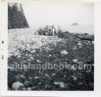 Description on back of photo: Oak Island Beach Looking East Toward Apple Island from South Shore