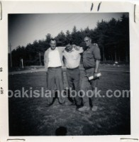 Dan Blankenship, Robert Dunfield, James Troutman outside of Oak Island Motel